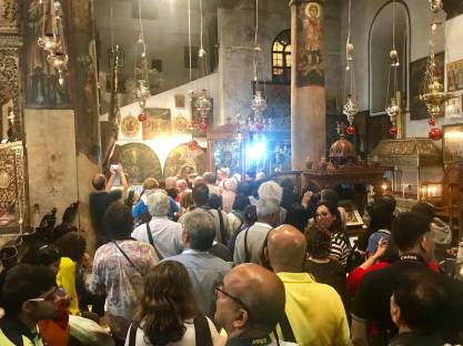 The line was long at the Church of the Holy Nativity.