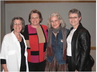 From left: Jan Swenson, Valerie Naylor, Terry Tempest Williams, Lillian Crook (March 2008, Dickinson).