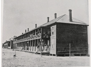 Fort Keogh, Mont. Officer's quarters and cavalry barracks, June 1880 (by L.A. Huffman).