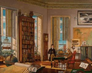 President Jefferson in his White House Office with Meriwether Lewis.