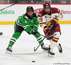 St. Paul, MN; March 17, 2018; NCHC Frozen Faceoff, Xcel Energy Center. University of North Dakota vs Minnesota Duluth. 3rd place game. Photo by Russell Hons