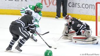 Grand Forks, ND; February 9, 2918; The #4 University of North Dakota men's hockey team opened the 2018 NCHC playoffs by hosting #5 Omaha at Ralph Engelstad Arena. UND won 4-0. Photo by Russell Hons