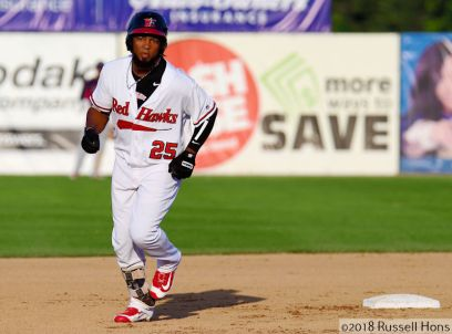 May 26, 2018: The Lincoln Saltdogs and the FM RedHawks met in American Association professional baseball at Newman Outdoor Field in Fargo, ND. The RedHawks won the game 11 to 6. Photo by Russell Hons/CSM
