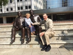 The bronze sculptures of Dr. William and Charles Mayo.
