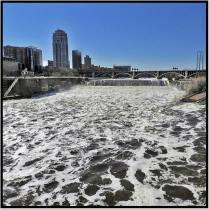 April 27: Twin Cities weather advisories have switched from snowstorms to floods. I took this picture of the raging Mississipi River yesterday from the Stone Arch Bridge in Minneapolis.