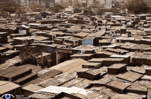 Dharavi slum seen from the rooftop.