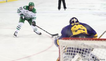 October 20, 2018 NCAA men's college hockey game between the Minnesota State Mavericks and the University of North Dakota Fighting Hawks at Ralph Engelstad Arena in Grand Forks, ND. North Dakota won 4-3. Photo by Russell Hons