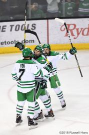 October 19, 2018 NCAA men's college hockey game between the Minnesota State Mavericks and the University of North Dakota Fighting Hawks at Ralph Engelstad Arena in Grand Forks, ND. Mankato won 7-4. Photo by Russell Hons