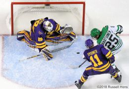 October 19, 2018 NCAA men's college hockey game between the Minnesota State Mavericks and the University of North Dakota Fighting Hawks at Ralph Engelstad Arena in Grand Forks, ND. Photo by Russell Hons