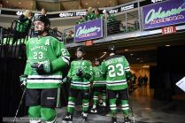 October 27, 2018 NCAA men's US Hockey Hall of Fame game between the Minnesota Golden Gophers and the University of North Dakota Fighting Hawks at Orleans Arena in Las Vegas, NV. _ defeated _ -_. Photo by Russell Hons