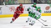 November 3, 2018 NCAA men's college hockey game between the Wisconsin Badgers and the University of North Dakota Fighting Hawks at Ralph Engelstad Arena in Grand Forks, ND. North Dakota won 3-2 in overtime. Photo by Russell Hons