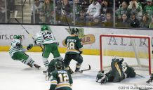 November 24, 2018 A NCAA men's college hockey game between the Alaska Anchorage Seawolves and the University of North Dakota Fighting Hawks at Ralph Engelstad Arena in Grand Forks, ND. UND won 4-3. Photo by Russell Hons