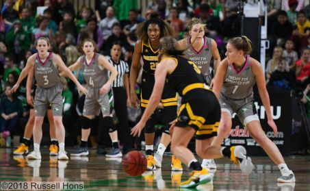 December 7, 2018: a NCAA women's basketball game between the University of Wisconsin-Milwaukee Panthers and the University of North Dakota Fighting Hawks at Betty Engelstad Sioux Center in Grand Forks, ND. Photo by Russell Hons