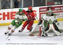 January 3, 2019 Red River Roughriders at East Grand Forks Greenwave boys hockey. East Grand Forks won 2-0. Photo by Russell Hons