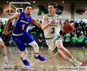 January 16, 2019 A NCAA men's college basketball game between South Dakota State Jackrabbits and the University of North Dakota Fighting Hawks at Betty Engelstad Sioux Center, in Grand Forks, ND. SDSU won 78-74. Photo by Russell Hons