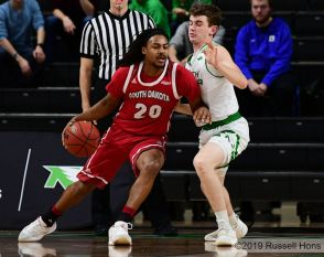 January 23, 2019: a NCAA basketball game between the South Dakota Coyotes and the University of North Dakota Fighting Hawks at Betty Engelstad Sioux Center in Grand Forks, ND. Photo by Russell Hons