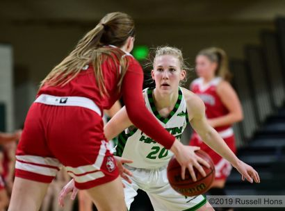 January 24, 2019: a NCAA basketball game between the University of South Dakota Coyotes and the University of North Dakota Fighting Hawks at Betty Engelstad Sioux Center in Grand Forks, ND. Photo by Russell Hons