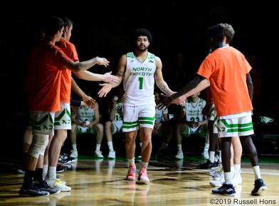 February 16, 2019: a NCAA basketball game between Oral Roberts University Golden Eagles and the University of North Dakota Fighting Hawks at Betty Engelstad Sioux Center in Grand Forks, ND. Photo by Russell Hons