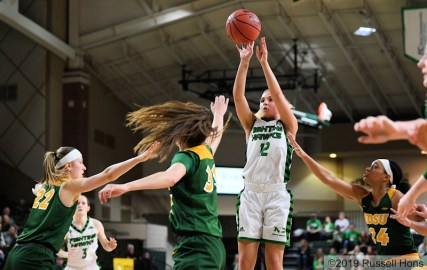 February 7, 2019: a NCAA basketball game between the North Dakota State University Bison and the University of North Dakota Fighting Hawks at Betty Engelstad Sioux Center in Grand Forks, ND. Photo by Russell Hons