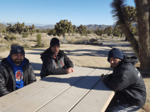 "Campers Mike Nazlikian, Eric Ovasapyan and Artur Nazarian (from left) enjoying a weekend in Joshua Tree National Park in Southern California, ""getting away from the city."""
