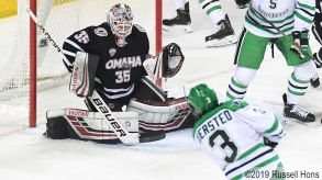 March 8, 2019 NCAA men's ice hockey game between the University of Nebraska-Omaha Mavericks and the University of North Dakota Fighting Hawks at Ralph Engelstad Arena in Grand Forks, ND. Photo by Russell Hons