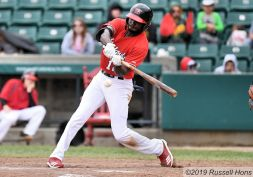 May 26, 2019: during the FM Redhawks game against the Texas Airhogs in American Association professional baseball at Newman Outdoor Field in Fargo, ND. The Redhawks won 6-3. Photo by Russell Hons