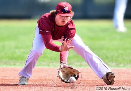 May 16, 2019 Red River Roughriders take on Fargo Davies in EDC baseball at Kraft Field in Grand Forks, ND. Red River won 5-4 with a walk off home run in the bottom of the 7th. Photo by Russell Hons