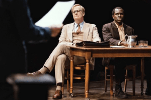 "Jeff Daniels and Gbenga Akinnagbe in ""To Kill a Mockingbird."""