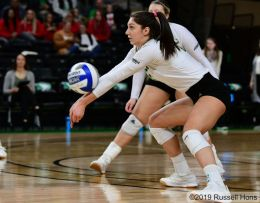 Grand Forks, ND October 15, 2019 An NCAA D1 volleyball game between North Dakota State and North Dakota at the Betty Engelstad Sioux Center in Grand Forks, ND. NDSU defeated UND 3-1. Photo by Russell Hons