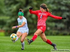October 3, 2019: A Summit League women's soccer game between the University of South Dakota and the University of North Dakota Fighting Hawks at Bronson Field in Grand Forks, ND. UND won 2-1. Photo by Russell Hons