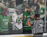 November 2, 2019 The 2019 U.S. Hockey Hall of Fame NCAA men's hockey game between the Michigan Tech Huskies and the University of North Dakota Fighting Hawks at Ralph Engelstad Arena in Grand Forks, ND. North Dakota defeated Michigan Tech 3-1. Photo by Russell Hons