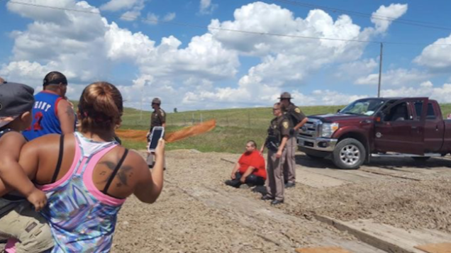 The first DAPL protest arrest, Aug. 12, 2016.