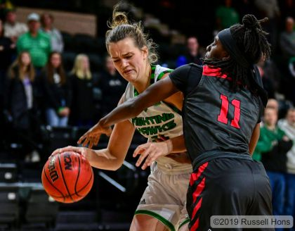 November 24, 2019: a NCAA basketball game between Illinois State and the University of North Dakota Fighting Hawks at Betty Engelstad Sioux Center in Grand Forks, ND. Photo by Russell Hons