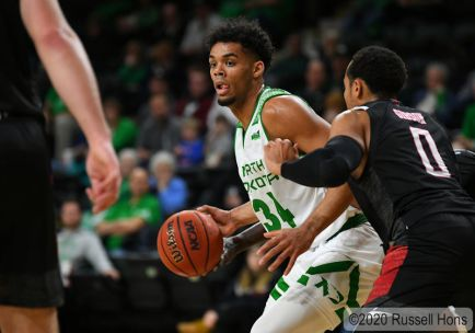 January 8, 2020 A NCAA men's college basketball game between the Omaha Mavericks and the University of North Dakota Fighting Hawks at Betty Engelstad Sioux Center in Grand Forks, ND. Photo by Russell Hons