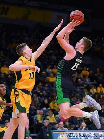 January 19, 2020: a NCAA men's basketball game between the University of North Dakota Fighting Hawks and the North Dakota State Bison at the Scheels Center, Fargo, ND. Photo by Russell Hons