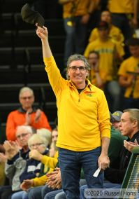 January 19, 2020: North Dakota Governor Doug Bergum waves to the crowd during a NCAA men's basketball game between the University of North Dakota Fighting Hawks and the North Dakota State Bison at the Scheels Center, Fargo, ND. Photo by Russell Hons