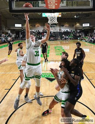 January 5, 2020 A NCAA men's college basketball game between Purdue Fort Wayne Mastodons and the University of North Dakota Fighting Hawks at Betty Engelstad Sioux Center in Grand Forks, ND. Photo by Russell Hons