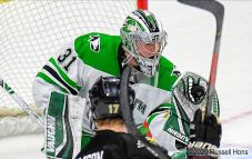 February 29, 2020 A NCAA men's hockey game between the Western Michigan Broncos and the University of North Dakota Fighting Hawks at Ralph Engelstad Arena in Grand Forks, ND. North Dakota won 2-1 in overtime. Photo by Russell Hons