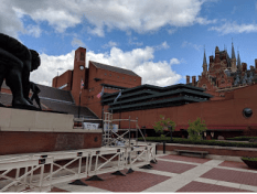 British Library (St. Pancras Station in the right upper corner). I walked all over Bloomsbury. The statue is inspired by Sir Isaac Newton. So much genius in Great Britain.