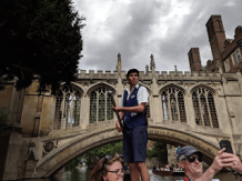 Punting on the River Cam, Bridge of Sighs, Cambridge.