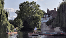 Punting on the River Cam, from the Anchor Pub where I had supper .