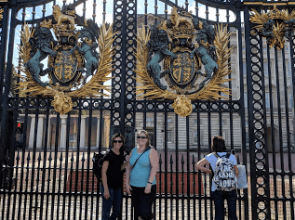Beckie and Katie in front of Buckingham Palace.