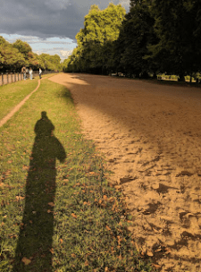 "Rotten Row, Hyde Park. ""Rotten"" comes from the smell of the horses' manure. That is my shadow at the end of a long day."