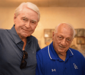 Fred Claire with former Dodger manager Tommy Lasorda in recent years.