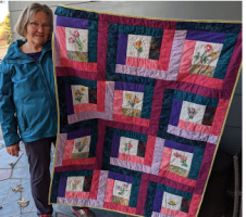 Linda Suchy and the quilt.