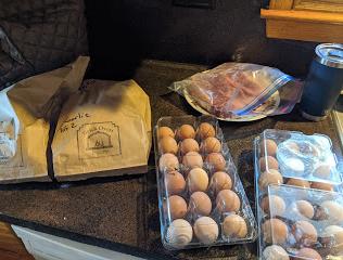 Brick Oven bakery bread, fresh Billings County pullet eggs, Suchy T-bone steaks.