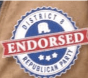 The District 8 Republican Party Seal of Approval graces the campaign literature of Dave Nehring and David Andahl but not of Rep. Jeff Delzer.