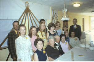 Junette's parents' 50th-wedding celebration, Rhame Lutheran Church, June 1970. Junette front left, with her daughters, Reva and Leah, and her husband, Allan, behind her.