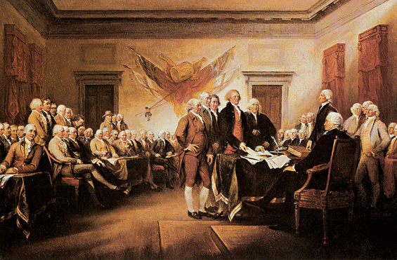 John Trumbull's fanciful recreation of the moment Jefferson and his revolutionary colleagues presented the draft of the Declaration of Independence to the Second Continental Congress.