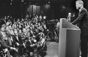 President John Kennedy addressing the issue of his Catholic faith in Houston in 1960.